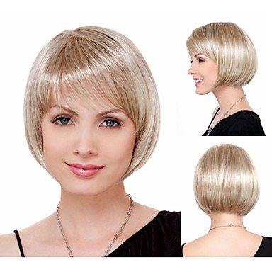 HJL-cheveux naturels bob chic de coupe perruques synth¨¦tiques pour les femmes courtes perruques blondes pleines droites avec frange , blonde