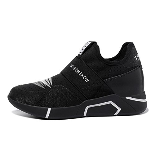 lusam Gefühl Damen Athletic Schuhe Casual Mesh Walking Sneakers–atmungsaktiv Laufschuhe, damen, Schwarz , US6.5