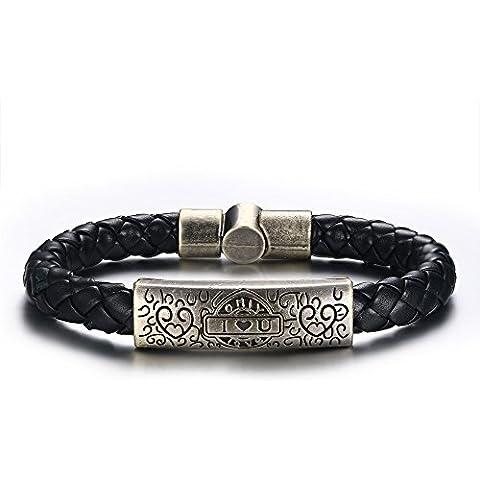 Vnox Braccialetto del cuoio genuino Mens antico Ti amo cuore fascino Wristband gioielli Muscoloso
