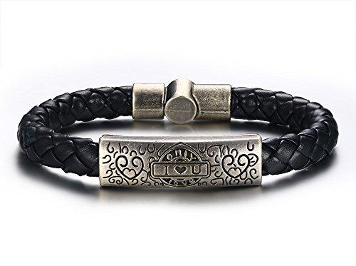 Vnox Antikes echtes Leder Armband der Männer Ich liebe dich Herz Charme Armband muskulöse Schmucksachen (Schwarz-leder-armband-charme)
