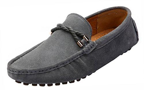 Yaer Herren Halbschuhe Wildleder Mokassin Slipper Confort Bootsschuh aus Leder Grau