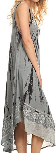 Sakkas caftan long / robe de plage Alexis brodée, sans manches, floral Bleu poussinière