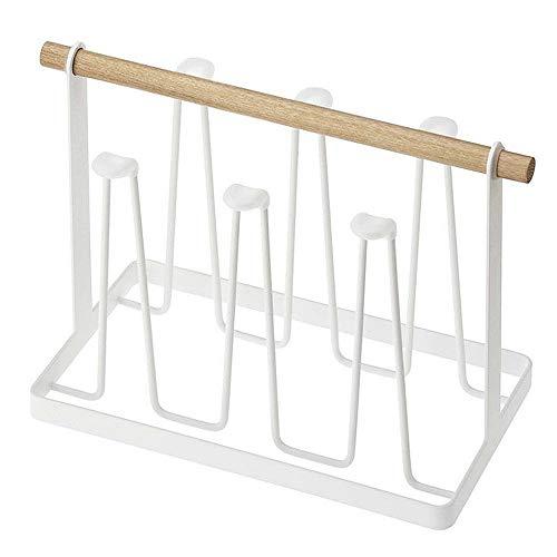 NNDQ Tasse Wäscheständer Stehen, abtropfen Lassen und Platz sparen, rutschfeste Eisen Kunst Haken Tassen Weingläser Veranstalter mit Holzgriff, weiß - Eisen Kunst