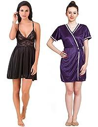 Freely Multicolor Babydoll Nighty & Short Robe Set - 2 Nighties Pack