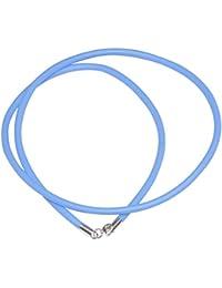 Blaue Kautschukband - Farbe Blau 4mm Ø - Länge: 35cm bis 75cm - Wahlbar - Verschluss Silber 925 - Karabiner