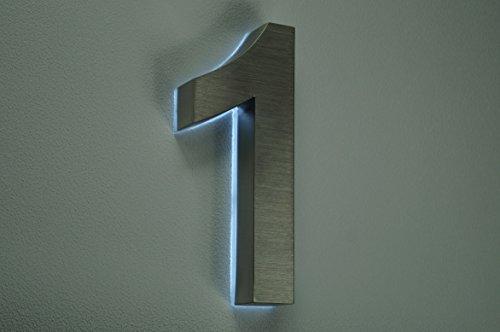 HAUSNUMMER 1 EDELSTAHL in 3D beleuchtet ca.H18cm/180mm LED weiss (12Volt) ohne Trafo