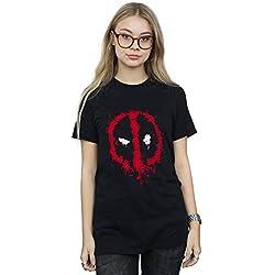 Marvel Mujer Deadpool Splat Face Camiseta del Novio Fit Negro XX-Large