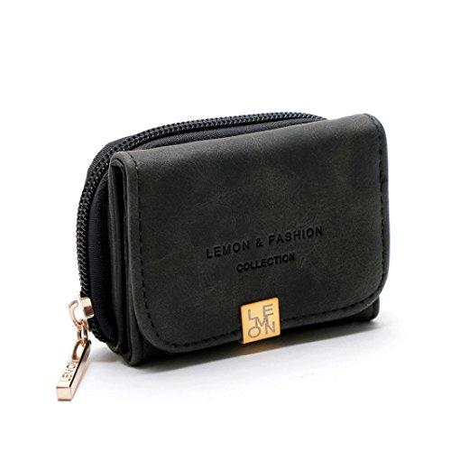 Mini Brieftasche HARRYSTORE Damen Mini Zipper Hasp Short Kartenhalter Mehrschichtige Brieftasche Geldbörse (Schwarz) (Gesteppte Mini-handtasche)
