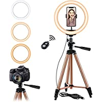 "10.2'' Selfie Ring Light with Tripod Stand, Eocean 50"" Tripod for YouTube/Tiktok Stream/Makeup, Mini Led Camera Ringlight for Vlog/Video, Compatible with iPhone, Android (Brown)"