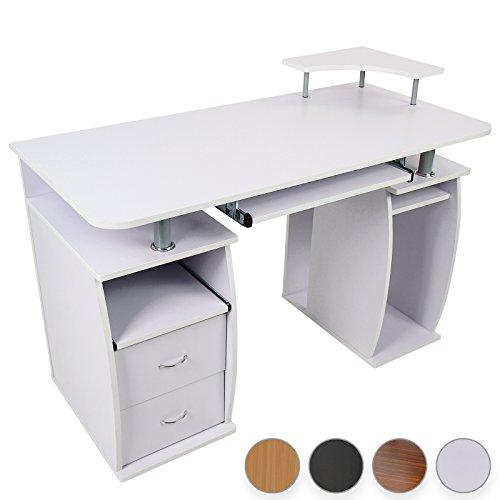 Miadomodo Schreibtisch Computertisch mit Tastaturauszug, 2 Schubladen & Monitorplattform (Farbwahl)