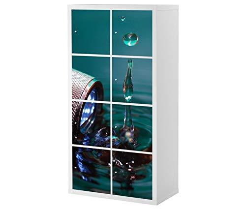 Set Möbelaufkleber für Ikea Kallax 8x Türelemente Taschenlampe Wasser Kat19 Wassertropfen Aufkleber Möbelfolie sticker (Ohne Möbel) Folie 25J121