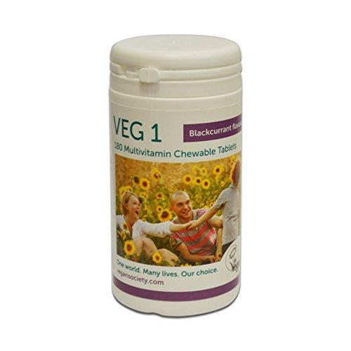 Vegan Society VEG 1 - Vegan Multivitamin (Vegan Society) schwarze Johannisbeere 180 Tabletten