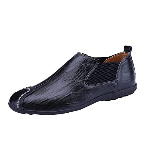 KonJin Men's Loafers Slip-on Driving Shoes Casual Moccasins House Indoor Outdoor Rubber Sole Loafers Shoes Womens Classic Leather Chap