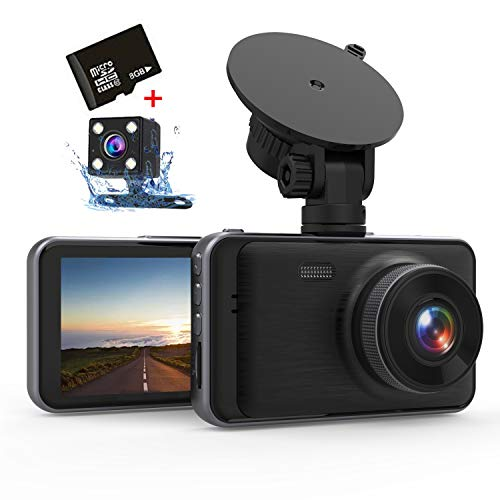 Aonerex Dashcam 1080P Full HD DVR Mini Dual Lens Kamera 3 Zoll LCD-Bildschirm Autokamera Video Recorder mit 170 ° Weitwinkel, G-Sensor, WDR, Parkmonitor, Loop-Aufnahme, Bewegungserkennung