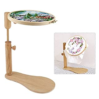 cheerfulus Adjustable Round Cross-stitch Embroidery Frame Hoop Wooden Tabletop Stand Frame