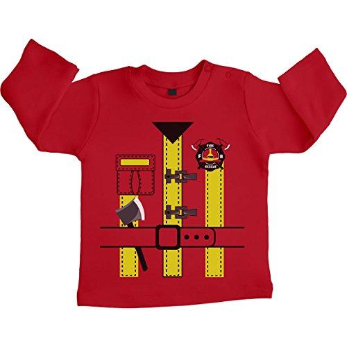 Green Turtle T-Shirts Cooles Karneval Feuerwehr Kostüm für Baby Unisex Baby Langarmshirt Gr. 66-93 6-12 Monate / 76 Rot (Baby Und Kind Green Turtle Kostüm)