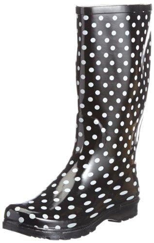 Playshoes Damen Gummistiefel, trendiger Regenstiefel aus Naturkautschuk, mit herausnehmbarer Innensohle, gepunktet mit Punkt-Muster (Stiefel Flache Schwarze Hohe)