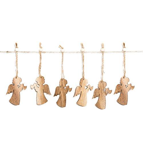 12 Stück kleine Holz-ENGEL Weihnachts-ANHÄNGER natürlich natur braun (7,5 cm) Trompete mit Schnur als Christbaumschmuck Christbaumanhänger Geschenkanhänger - Weihnachtsdeko zum Aufhängen