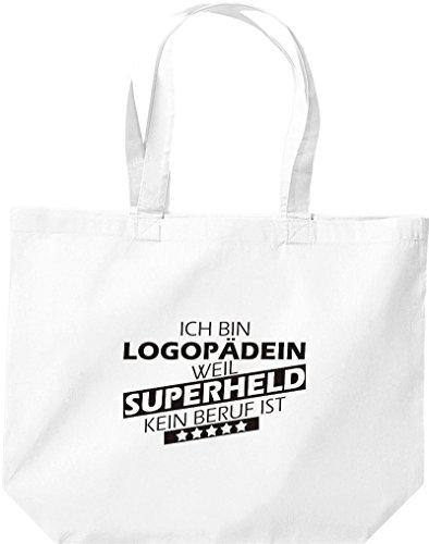 Shirtstown große Einkaufstasche, Ich bin Logopädin, weil Superheld kein Beruf ist, weiss