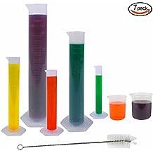 JPSOR 5 Piezas Cilindro Graduado Probetas de Plástico Transparente , 10, 25, 50, 100, 250 ml, Con 2 Vasos de Precipitado de Plástico 250, 500 ml y 1 Cepillo de Tubo de Ensayo