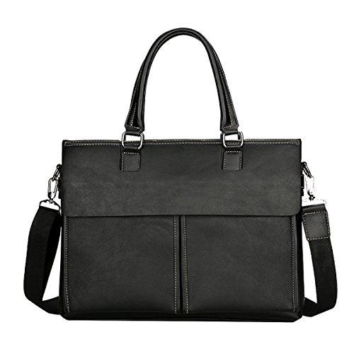 Yy.f Multi-stile Retrò Borsa Informale Casual Moda Business Briefcase Borsa In Pelle Borsa Da Viaggio Classica E Pratica. 3 Colori Black
