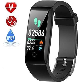 HETP Montre Connectée Cardiofréquencemètre Bracelet Connecté Podomètre GPS Fitness Tracker dActivité Tension Artérielle Smartwatch Sport Femme Homme ...