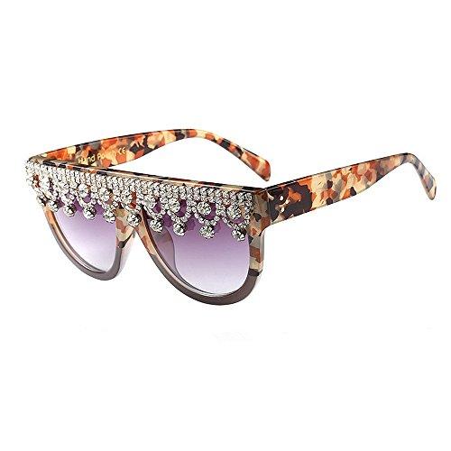 Yiph-Sunglass Sonnenbrillen Mode Damen-Sonnenbrille Graceful Big Square Crystal für Frauen übergroße Schwarze Farbe UV-Schutz Driving Lady Persönlichkeit Sonnenbrille (Farbe : Camouflage)