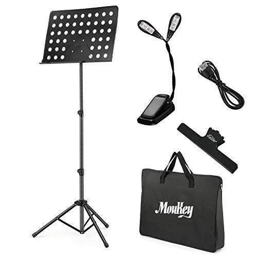 Moukey Notenständer Klappbar Stabil MMS-2 Notenpult Notenständer Schwarz Metall mit Tragetasche, Notenständer Licht, USB-Kabel und Notenblatt Cliphalter