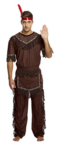 Männer gebürtiger Inder Kostüm - Enthält American Indian Top, Hose und Gefiederte Stirnband - Kostüm für Halloween - hochwertige Materialien - UK Größen M-XL (Men: X-Large, Brown) ()