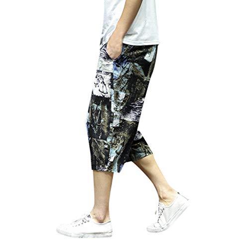 Malloom- Bekleidung Harem Baumwollleinen Hose mit weitem Schritt und weiten Beinen für Herren Baggy Cropped Trousers Large Size Cotton and Linen national Wind Harem Pants Cropped Trousers Braun M-5XL