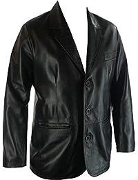 UNICORN Männer Echt Leder Jacke Klassiker Suit Blazer Schwarz #G4