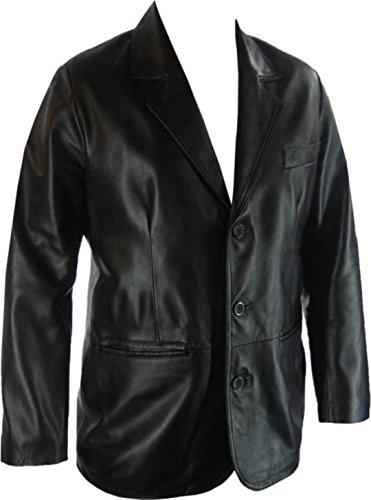 UNICORN Herren Lederjacke Echt Leder Klassiker Anzug Blazer Schwarz #G4 - Schwarz, L - Leder-drei-knopf-blazer