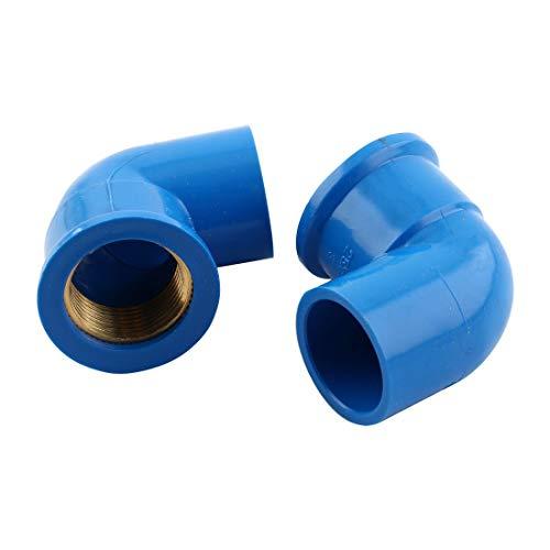 Fil femelle 3/4 BSP 25mm 90 Degré coude tuyau Raccord connecteur bleu 2 pcs