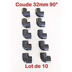 Lot de 10 Coudes PVC Pression 90° / 32mm intérieur F/F PN16 / Piscine et arrosage / 32 mm Manchon