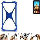 K-S-Trade Handyhülle für Energizer H590S Silikon Schutz Hülle Cover Case Bumper Silikoncase TPU Softcase Schutzhülle Smartphone Stoßschutz, blau (1x)