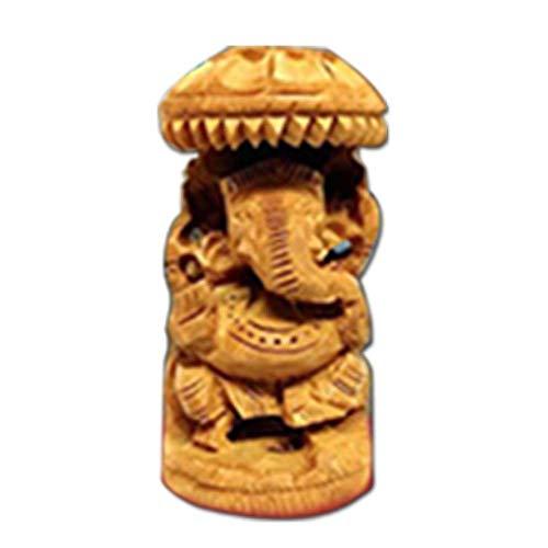 Ganesha Statue indischer Elefant Gott Hand Geschnitzte dekorative religiöse Ganesha Figur ()