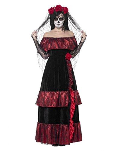 (Horror-Shop Day of The Dead Braut Kostüm mit Rosen Schleier für Den Tag der Toten S)