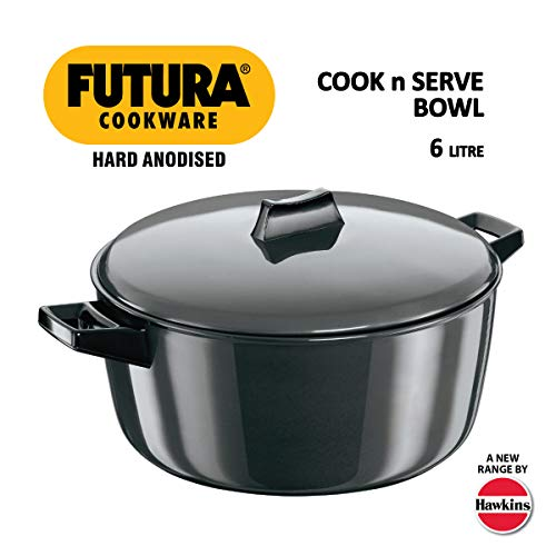 Hawkins Futura Hard Anodised Cook-n-Serve Bowl, 6 litres, Black