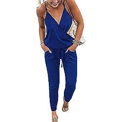 Yieune Combishort de Plage Été Femme Sexy Romper Jumpsuit Manche Courte Casual Chic Combinaisons de Soirée (Bleu S)