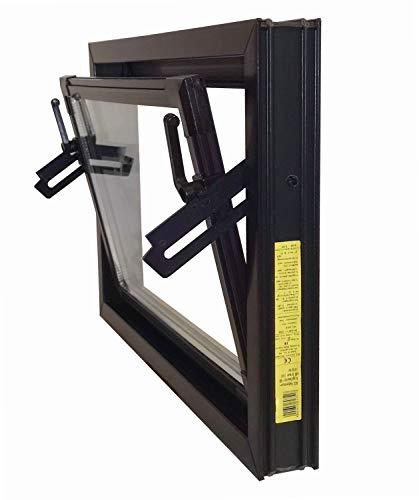 ACO 80cm Nebenraumfenster Kippfenster Isoglas braun Fenster Isofenster Kellerfenster, Größe Kippfenster:80 x 60 cm