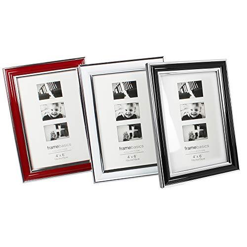 com-four® 3X Bilderrahmen, Fotorahmen - Stilvoller Rahmen für Ihre Lieblingsbilder (03er Set Rot/Blau/Weiß 10x15) -