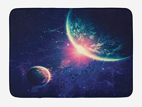 St574ony Bath Rug Galaxy Bath Mat, Outer Space Theme Planet Earth Mars In Space Discovery of Universe Astronomy Art, Plush Bathroom Decor Mat, 16x 24 Inches, Navy Blue Pink