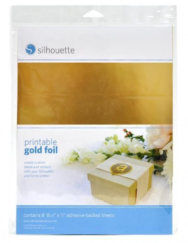 Silhouette - Papier Sticker Autocollant compatible impression jet d'encre - Couleur Or, 8 feuilles