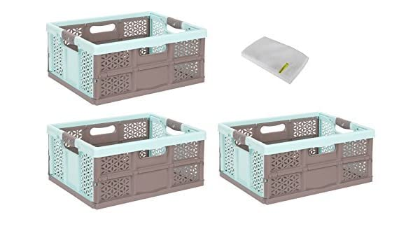 braun 32 L Faltbox Transportkiste Profi Klappbox mit softgriffen aquamarin