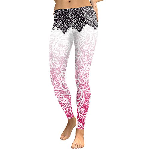 Cicongzai Leggings Mandala Flor Impresión Digital Slim Pink Fitness Mujeres Leggins Entrenamiento Yoga Pantalones de Cintura Alta (Color : Pink, Size : S)