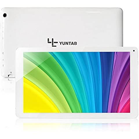 Yuntab Android Tablet PC 10.1 Pollici Quad core 8GB Allwinner A33, HD 1024 * 600 Schermo, Bluetooth 4.0, Google Android 4.4, 5500mAh Batteria con Doppia Fotocamera Google Play Pre-caricato, External 3G, 3D-Game,Bianco 2 PIN EU charger