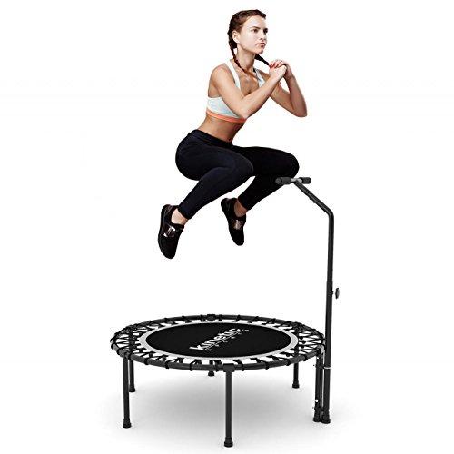 Kinetic Sports Indoor Fitness Trampolin Home Trampolin, Durchmesser 100 cm, Haltegriff Höhenverstellbar 83-123 cm - 3
