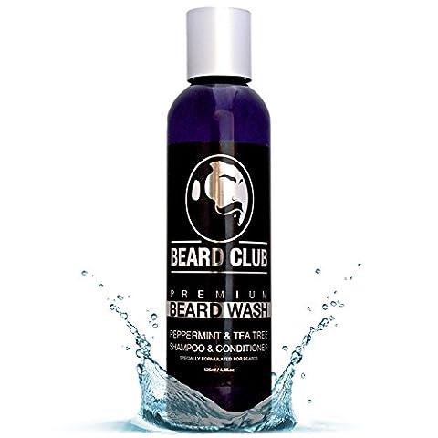 Premium Beard Shampoo & Conditioner   Peppermint & Tea Tree   Beard Club   100% Natural & Organic Soap Beard Wash for Men   Strengthens Hair   Stops Beradruff   Great for Sensitive
