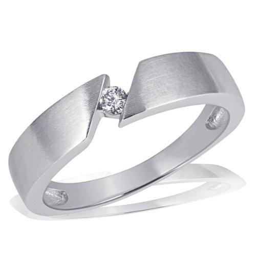 goldmaid Damen-Ring  Weiss Gold 585 Solitär 1 Brillant 0,07 Karat Schrägfassung So R523WG58 Schmuck