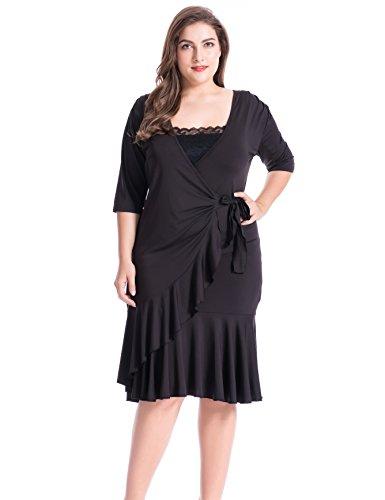 Chicwe Damen Große Größen Whimsy Wrap Kleid Schwarz 2X (Jersey-wrap Leichte)